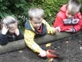 Maik gräbt ein Loch für die Zwiebel, Felisha und Finn schauen zu
